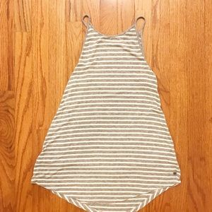 American Eagle Gray and White Striped Tank Top